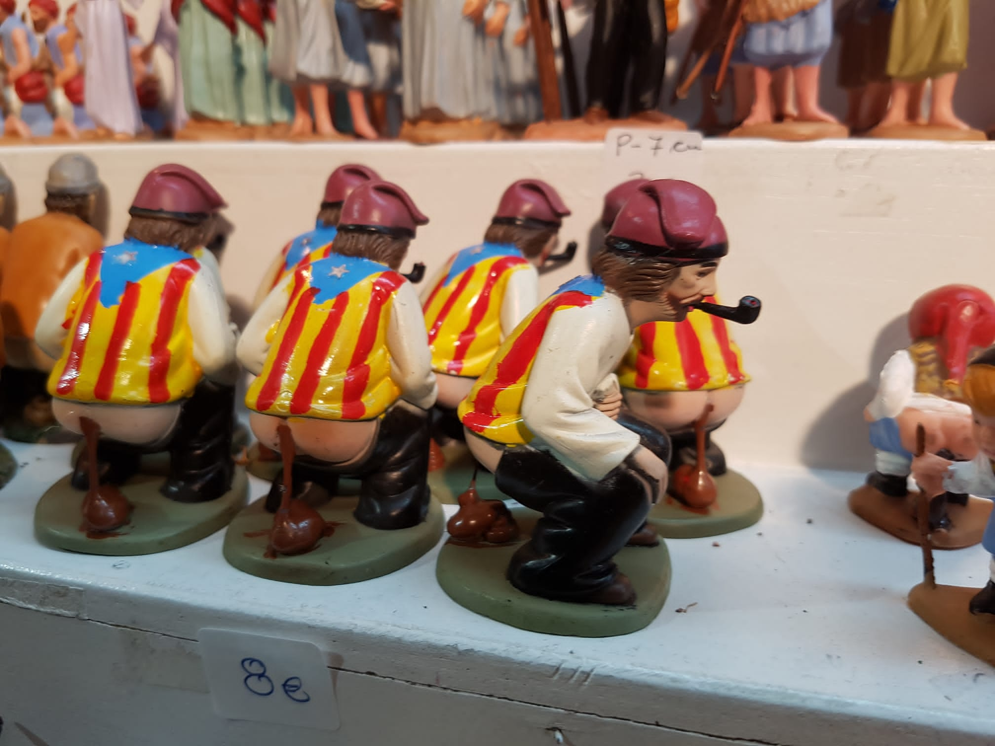 Caganers at Barcelona's Christmas Market. One of the odd Catalan Christmas traditions